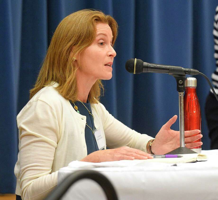 Selectwoman Jill Oberlander said she wants to hear more from members of the public before a decision is made on continuing the advertising banner program on Greenwich Avenue. Photo: Matthew Brown / Hearst Connecticut Media / Stamford Advocate