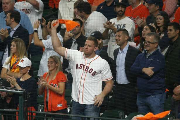 HOUSTON, TEXAS - OCTOBER 22: J.J. Watt of the Houston Texans watches Game One of the 2019 World Series between the Houston Astros and the Washington Nationals at Minute Maid Park on October 22, 2019 in Houston, Texas. (Photo by Bob Levey/Getty Images)