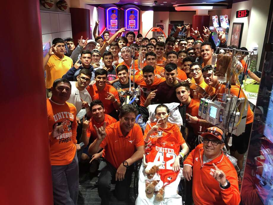 United head coach David Sanchez and the Longhorns traveled to Houston Oct. 7 during their bye week to visit Jalen Garcia at the MD Anderson Cancer Center and retire his No. 24 jersey. Photo: Courtesy