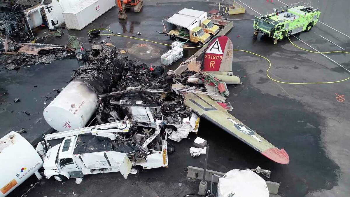 This image, taken from video provided by National Transportation Safety Board, shows damage from a World War II-era B-17 bomber plane that crashed Wednesday at Bradley International Airport, Thursday, Oct. 3, 2019 in Windsor Locks, Conn. The plane crashed and burned after experiencing mechanical trouble on takeoff Wednesday morning from Bradley International Airport.