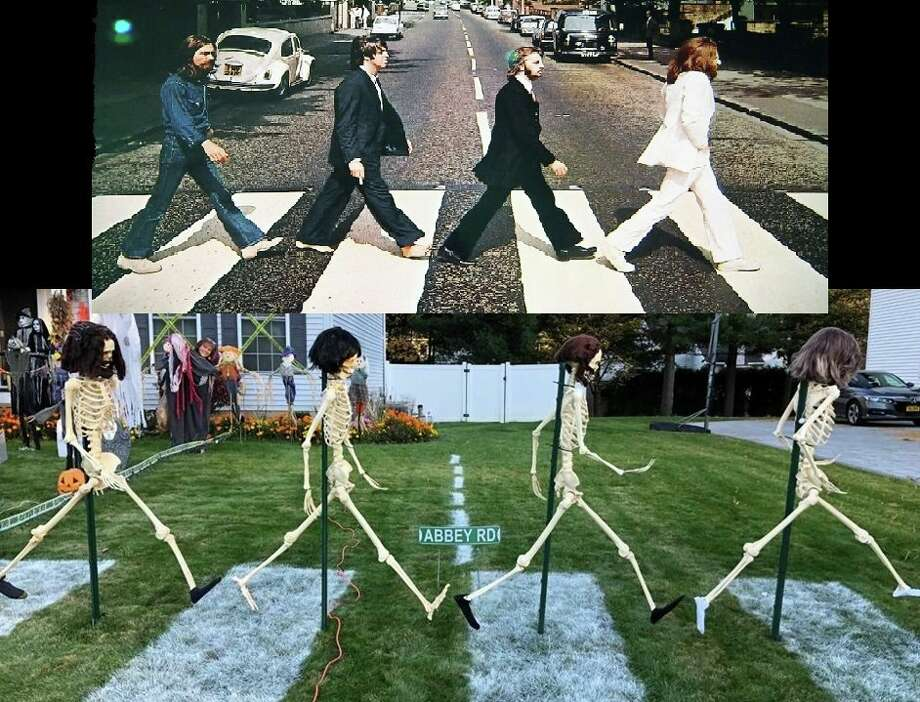 Jeff and Ellen Pitkin shared photos of their Beatles-themed Halloween decorations at their home in Guilderland in October 2019. The display celebrates the 50th anniversary of the band's album, Abbey Road. Photo: Jeff Pitkin Via Facebook