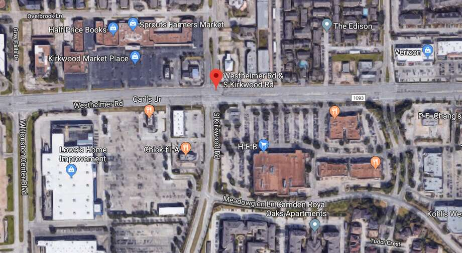 A deadly motorcycle crash is blocking several lanes of Westheimer in west Houston on Wednesday, Oct. 23, 2019. Photo: Google Maps