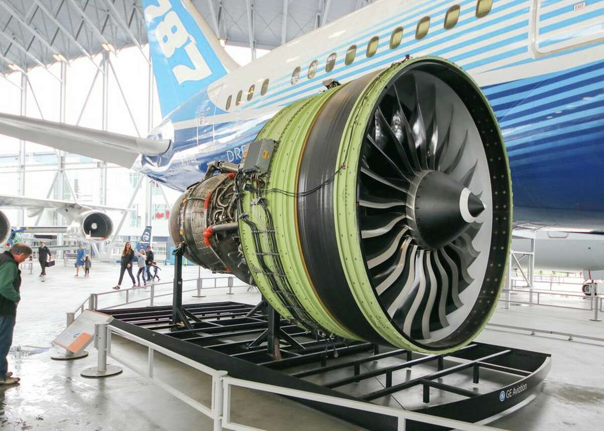 This is a GE90, one of the truly massive engines that powers the larger 777, though it is somewhat related to the GEnx that powers many 787.