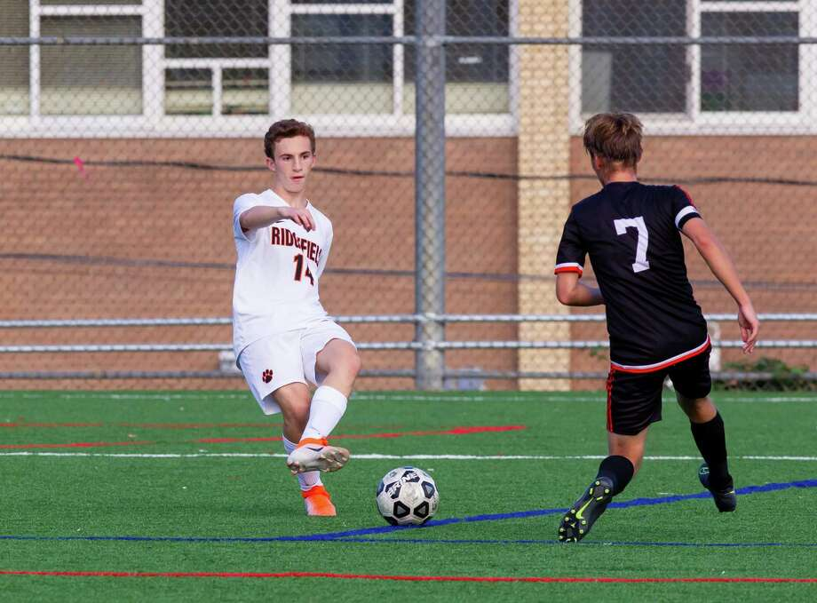 Chad Eskenazi has been part of a strong defense for the Ridgefield boys soccer team. Photo: Gretchen McMahon / For Hearst Connecticut Media / (C)2014