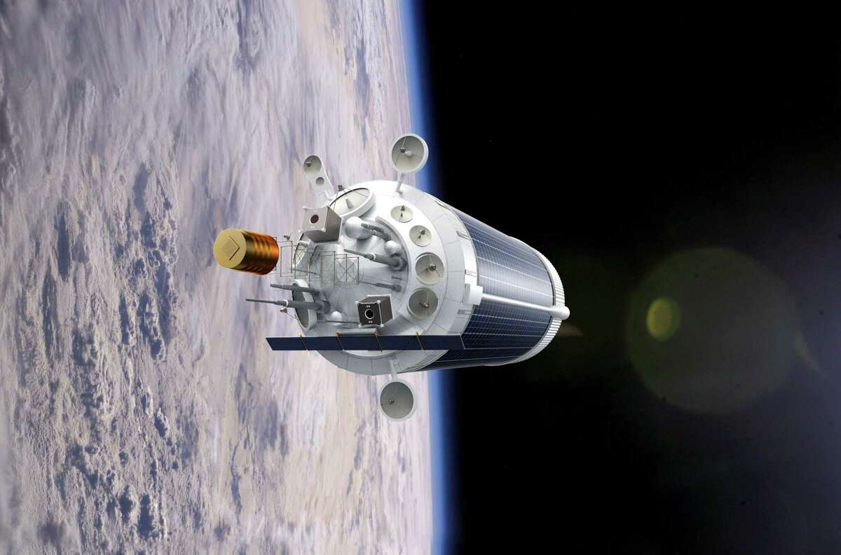 Pictured is a rendering of how Nanoracks could turn a spent rocket's upper stage into a habitat for humans or a robot-operated research facility.
