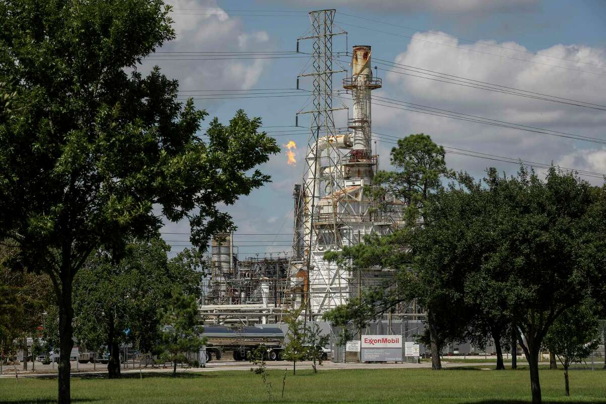 The ExxonMobile Baytown Refinery, photographed on Tuesday, Sept. 24, 2019, in Baytown. The Baytown facility revised early estimates of emissions tied to Tropical Storm Imeldafrom 5,300 pounds of volatile organic compounds over 48 hours, when the storm caused a floating roof to fail, to about 3,000 pounds.
