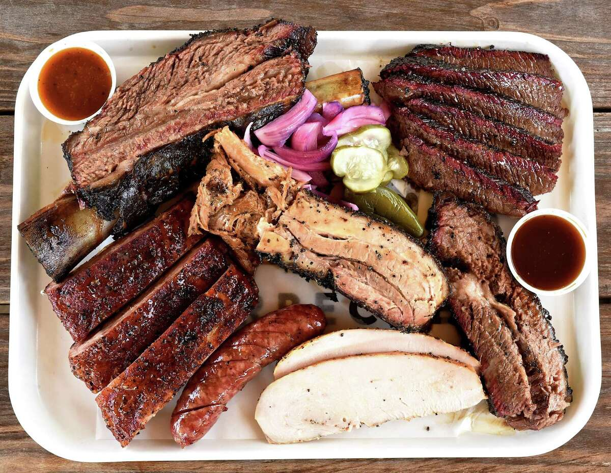 Killen's BarbecueWhere: 3613 E. Broadway, PearlandPhone: 281-485-2272Menu: https://www.killensbarbecue.com/new-page Celebs like Arnold Schwarzenegger and Texans star J.J. Watt are among the fans of this Pearland joint from Le Cordon Bleu-trained chef Ronnie Killen. Colossal beef ribs with black-pepper bark, smoked turkey, a whole chicken and filler-free sausages are on the menu, along with creamed corn and collard greens. Orders must be placed with 48-hours notice.