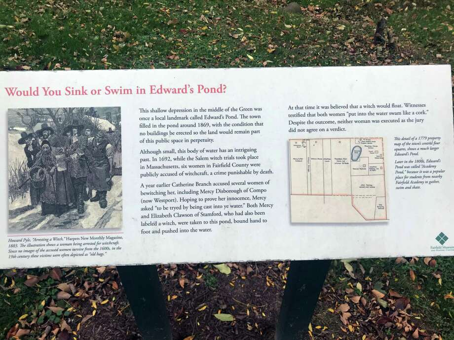 "A sign behind Fairfield's Town Hall commemorates the area where accussed witches were once ""dunked."" Taken Oct. 16, 2019 in Fairfield, Conn. Photo: DJ Simmons/Hearst Connecticut Media"