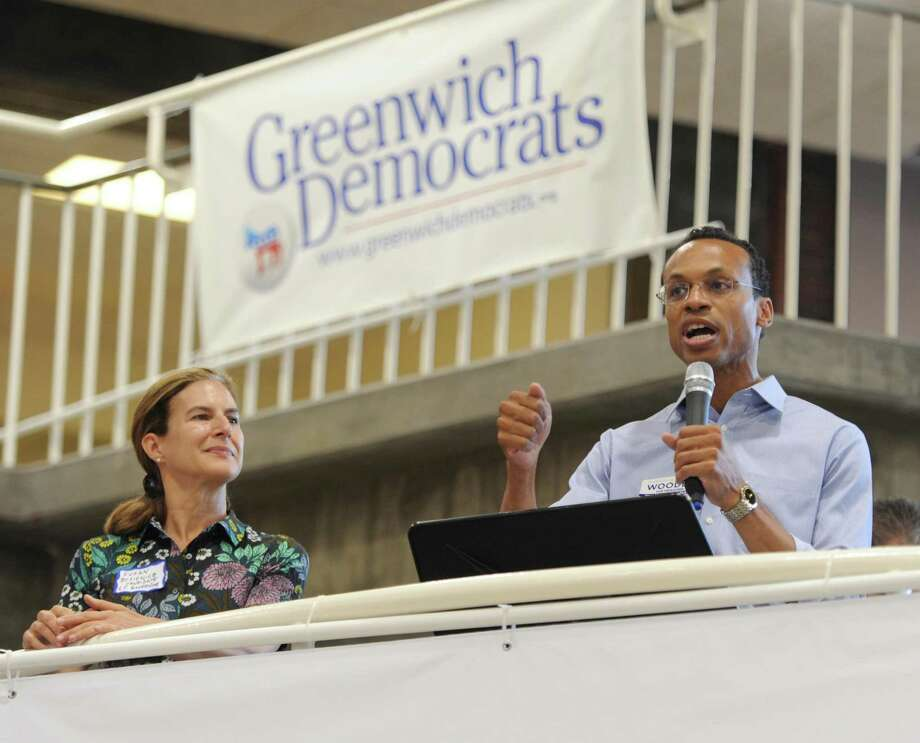 Shawn Wooden in September 2018 in Greenwich, Conn. during his campaign to become state treasurer, alongside Susan Bysiewicz who was elected lieutenant governor. Photo: Tyler Sizemore / Hearst Connecticut Media / Greenwich Time