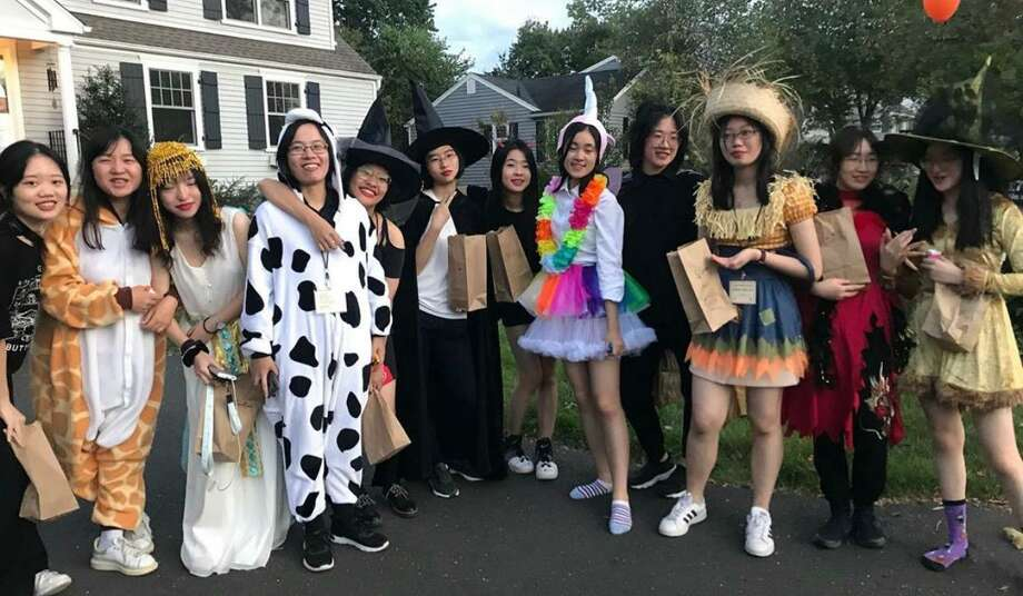 This year's Chinese students celebrating Halloween in Darien. Photo: Contributed