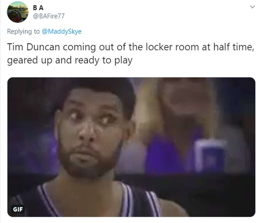 @BAFire77: Tim Duncan coming out of the locker room at half time, geared up and ready to play