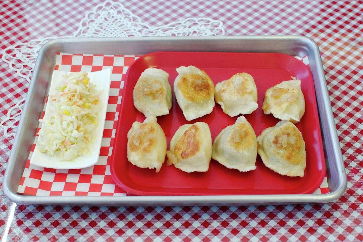 Assorted pan fried pierogi at Pierogi Queen