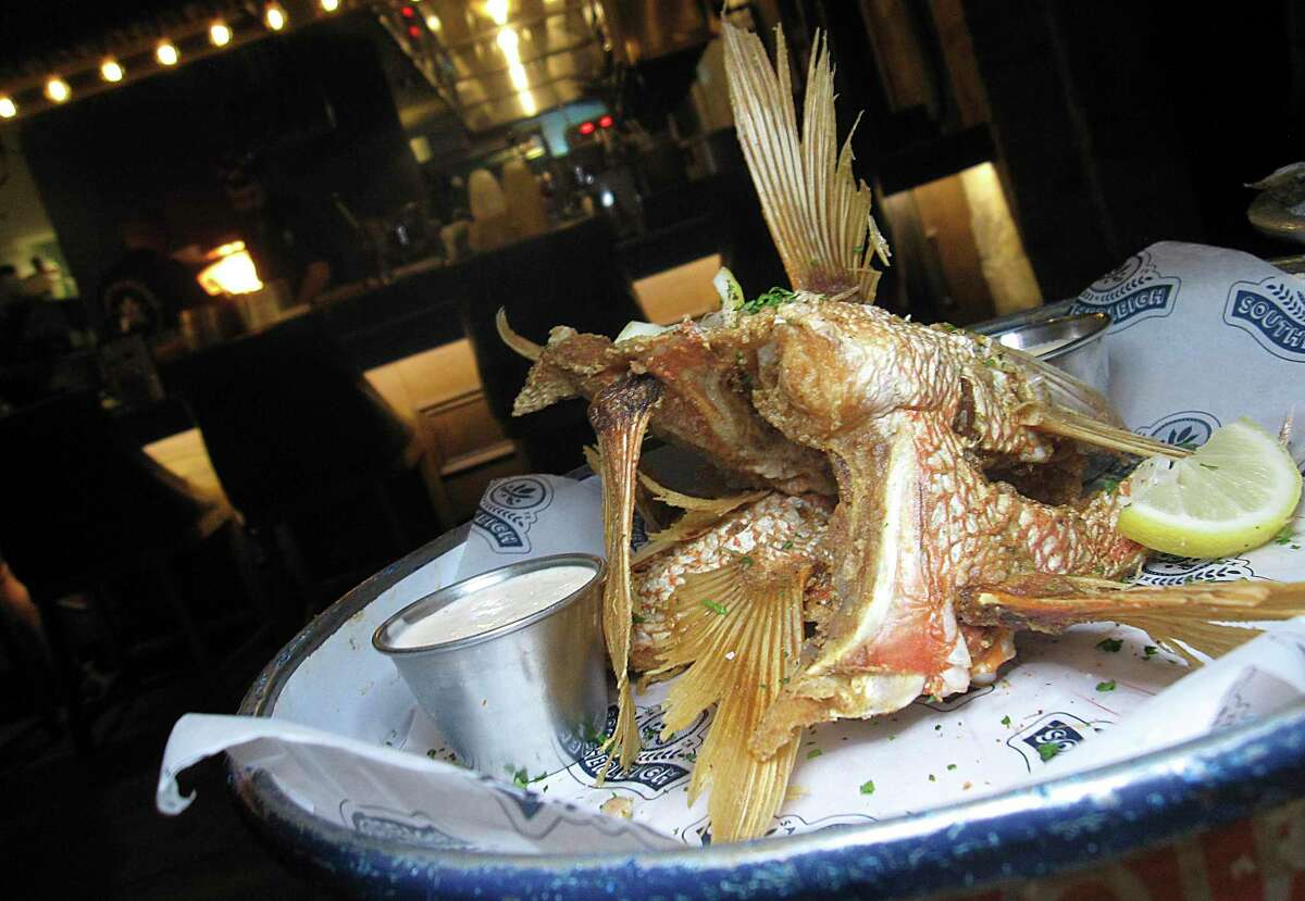 Fried snapper collars are edible sculptures of fin, bone and meat at Southerleigh Fine Food & Brewery at the Pearl.