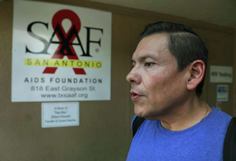 Steven Finees Flores, 52 years old, who was hospitalized for 28 days in August, goes to the San Antonio Aids Foundation for therapy appointments and to pick up his medications at their pharmacy. Photo: Bob Owen / ©2019 San Antonio Express-News