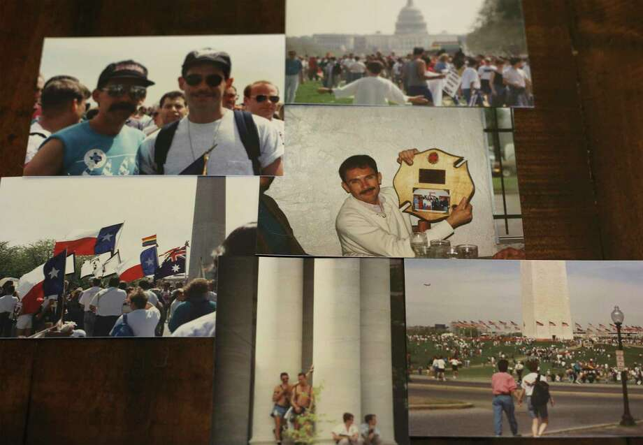 A collection of photographs by Paul Casillas including a photograph of him (center) provided by Greg Casillas. The photographs, with the exception of the one of Paul Casillas, are from a 1993 LGB equal rights and liberation march in Washington, D.C. Greg Casillas, who works as the life skills manager at Thrive Youth Center at the Haven for Hope campus, has been HIV positive for almost 20 years. Both his brother and his brother's partner died from AIDS. Photo: Kin Man Hui / ©2019 San Antonio Express-News