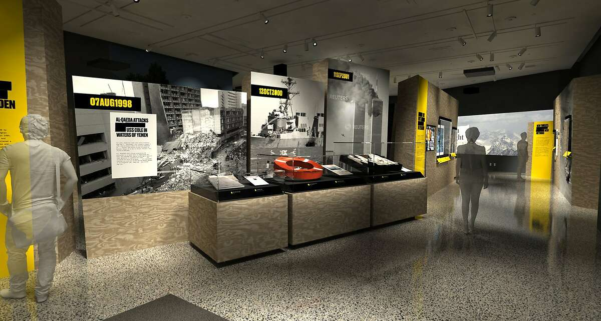 """In this artist's rendering provided by C&G Partners, the exhibit """"Revealed: The Hunt for Bin Laden,"""" is shown at the National September 11 Museum in New York. Newly declassified U.S. government artifacts are part of the exhibit, opening Nov. 15, 2019, that traces the decade-long, secret search for Osama bin Laden at the site of the New York terrorist attack he commandeered. (C&G Partners via AP)"""