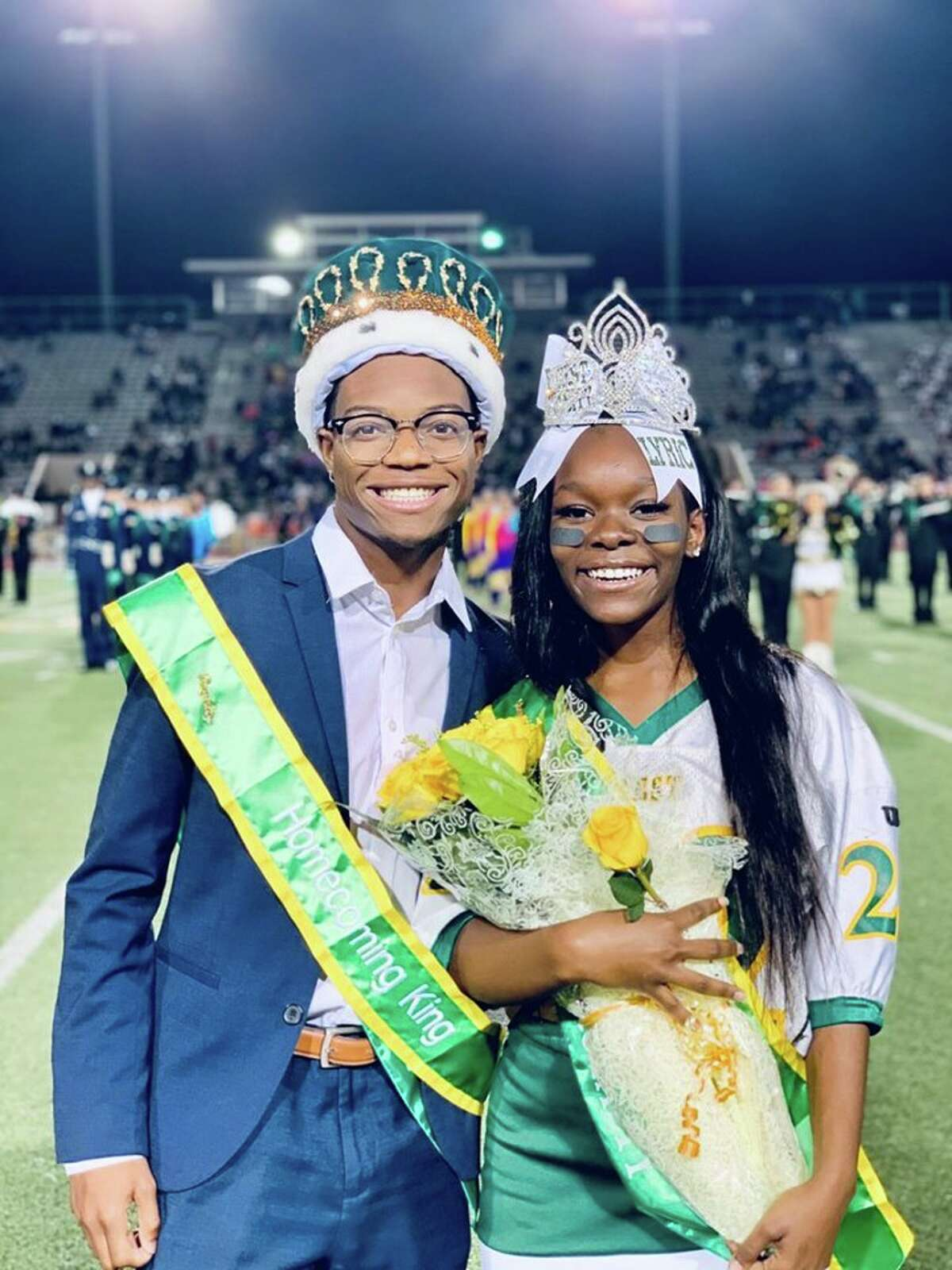 The Klein Forest High School homecoming king and queen, Auhmad Robinson and Lyric Coleman.