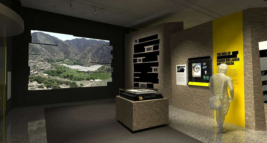 """In this artist's rendering provided by C&G Partners, the exhibit """"Revealed: The Hunt for Bin Laden,"""" is shown at the National September 11 Museum in New York. Newly declassified U.S. government artifacts are part of the exhibit, opening Nov. 15, 2019, that traces the decade-long, secret search for Osama bin Laden at the site of the New York terrorist attack he commandeered. (C&G Partners via AP) Photo: Associated Press"""