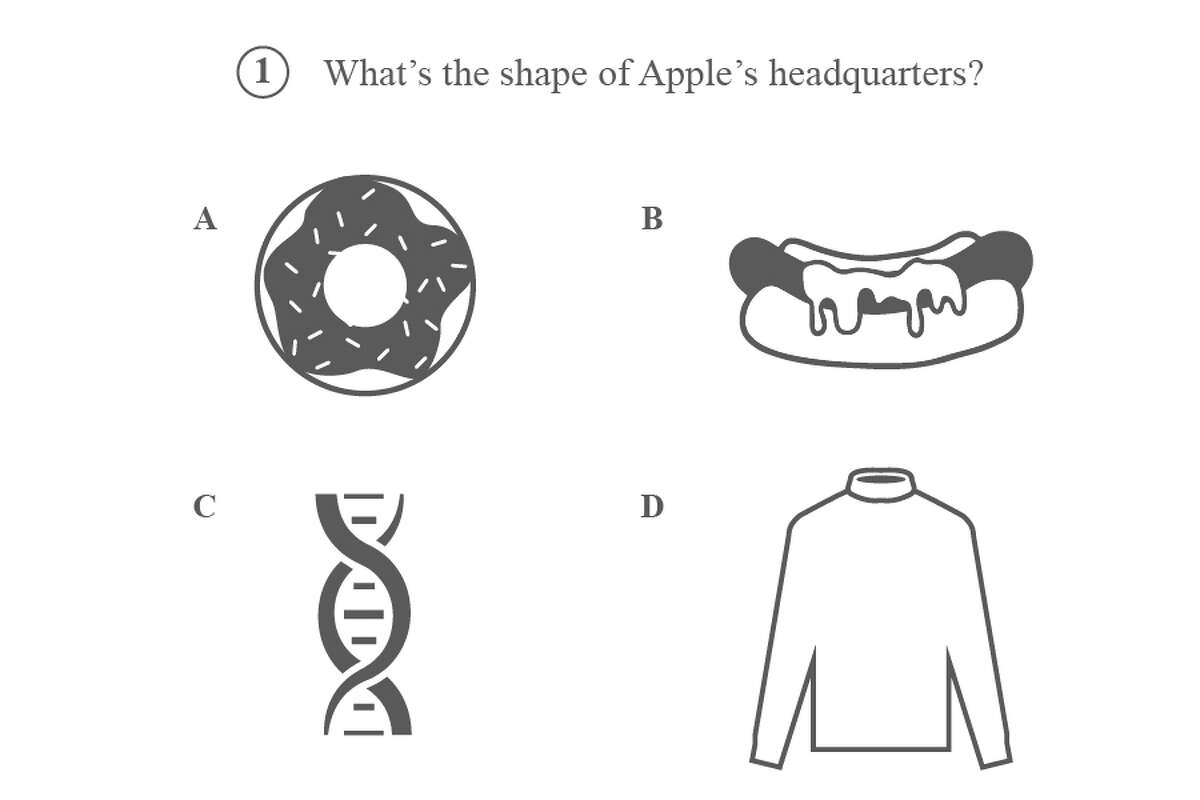 1) What's the shape of Apple's new headquarters? Doughnut, hot dog, DNA helix, or turtleneck?
