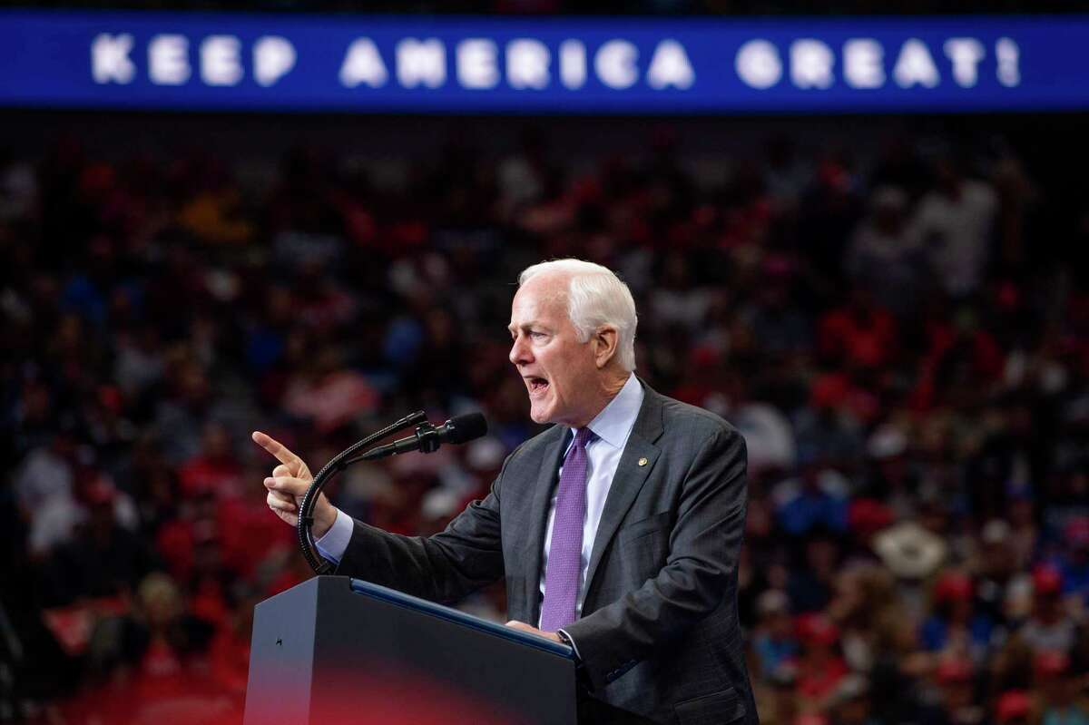 Sen. John Cornyn, R-Texas, speaks during a campaign rally for President Donald Trump, Thursday, Oct. 17, 2019, at the American Airlines Center in Dallas. (AP Photo/Jeffrey McWhorter)