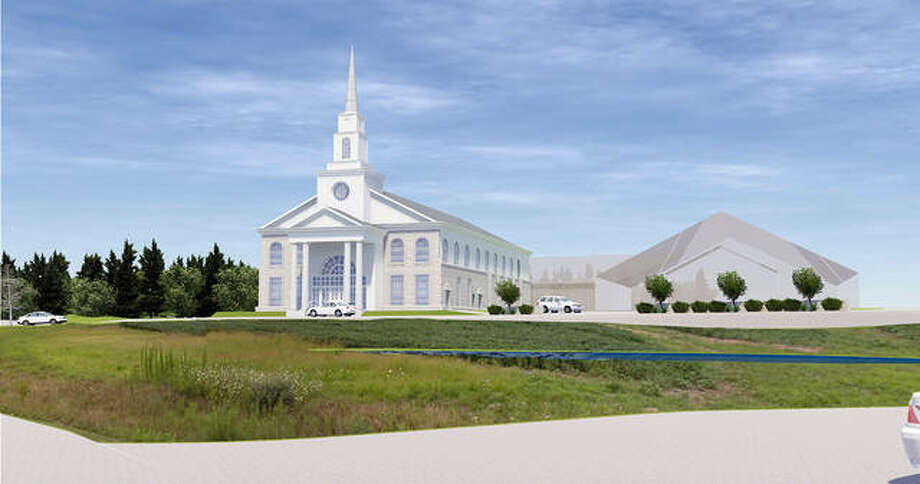 A rendering of the completed Providence Presbyterian Church, which has three phases, and may not be completely finished until 2040. The first phase, the sanctuary, is scheduled start construction next year if all is approved. Photo: Courtesy Of Farnsworth Group