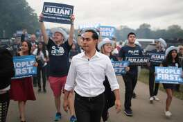 #14. Julian Castro (D) - Total spent: $6,830,677 --- Total spent by candidate committee: $6,830,677 --- Total spent by outside groups: $0 - Total campaign debt: $0 Julián Castro is the former Housing and Urban Development secretary and mayor of San Antonio. A proponent of overhauling healthcare and immigration (Castro was the first nominee to detail an immigration plan to benefit Dreamers), he also said he wants to use his experience creating sustainable energy plans in San Antonio to attack the climate crisis and rejoin the Paris Accords. [Pictured: Democratic presidential candidate Julián Castro marching with supporters at the Polk County Democrats' Steak Fry on Sept. 21, 2019, in Des Moines, Iowa.] This slideshow was first published on theStacker.com