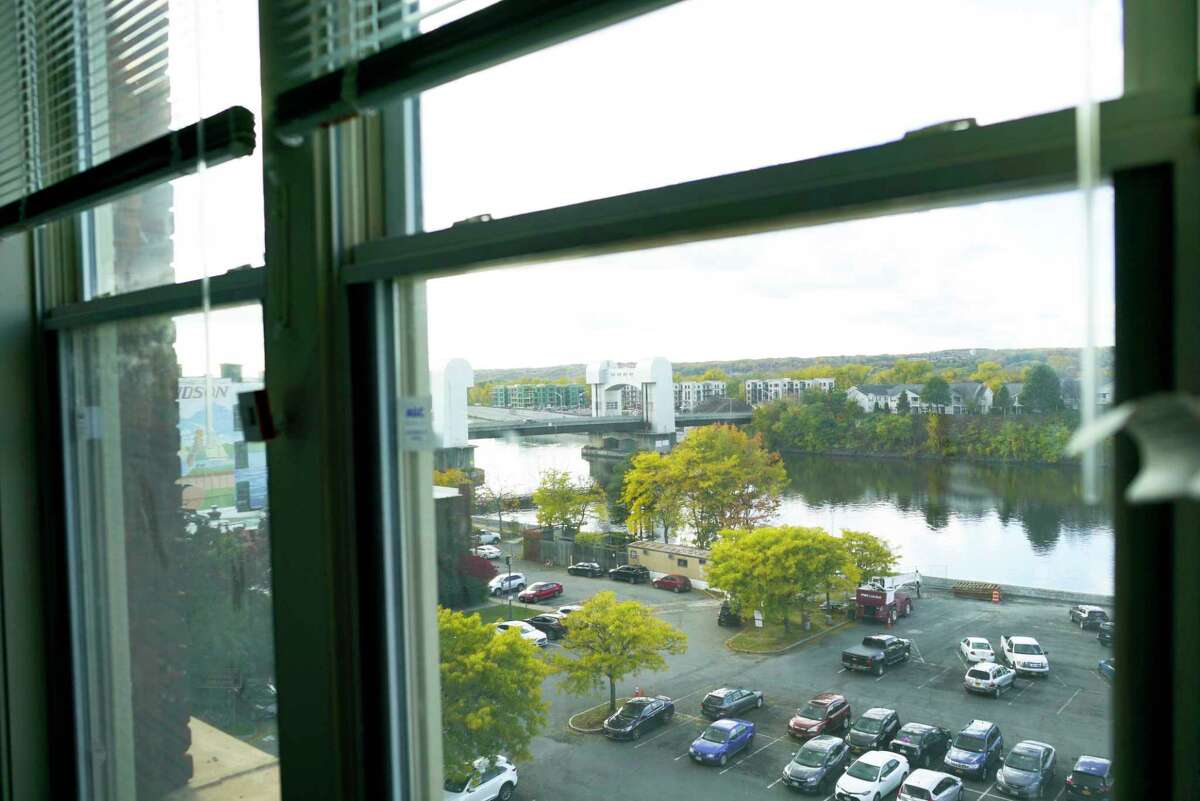 A view looking out from inside one of the apartments at 444 River Lofts on Wednesday, Oct. 23, 2019, in Troy, N.Y. This is the former Marvin Neitzel building which is being redeveloped into apartments. (Paul Buckowski/Times Union)