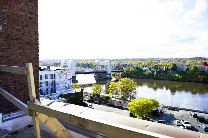 A view of the Green Island Bridge from the patio on the roof at 444 River Lofts on Wednesday, Oct. 23, 2019, in Troy, N.Y. This is the former Marvin Neitzel building which is being redeveloped into apartments. (Paul Buckowski/Times Union)