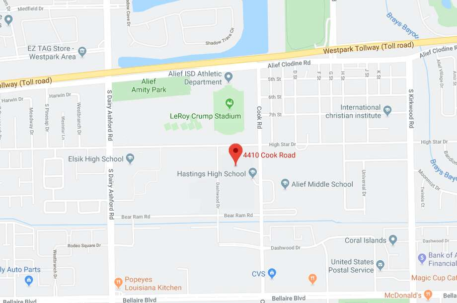 A fatal crash was reported Wednesday afternoon at Hastings High School in west Houston, according to police. Photo: Google Maps
