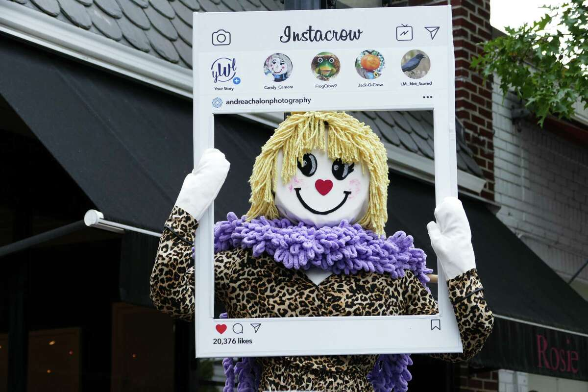 A contest is held the village of New Canaan each year in which people decorate scarecrows. The photo was taken, Sunday, Oct. 20, 2019.