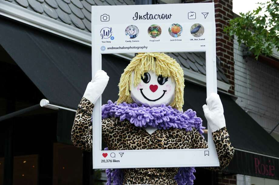 A contest is held the village of New Canaan each year in which people decorate scarecrows. The photo was taken, Sunday, Oct. 20, 2019. Photo: Grace Duffield