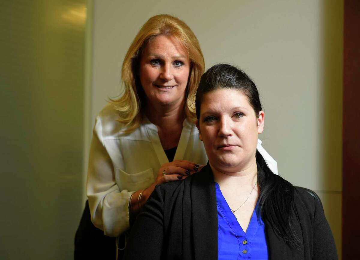 Lynn Maille and Jessica Bianco, both victims in a sexual harassment case against the Connecticut Judicial Branch, were photographed on Sept. 20, 2019 at their lawyer's office in Midtown Manhattan.