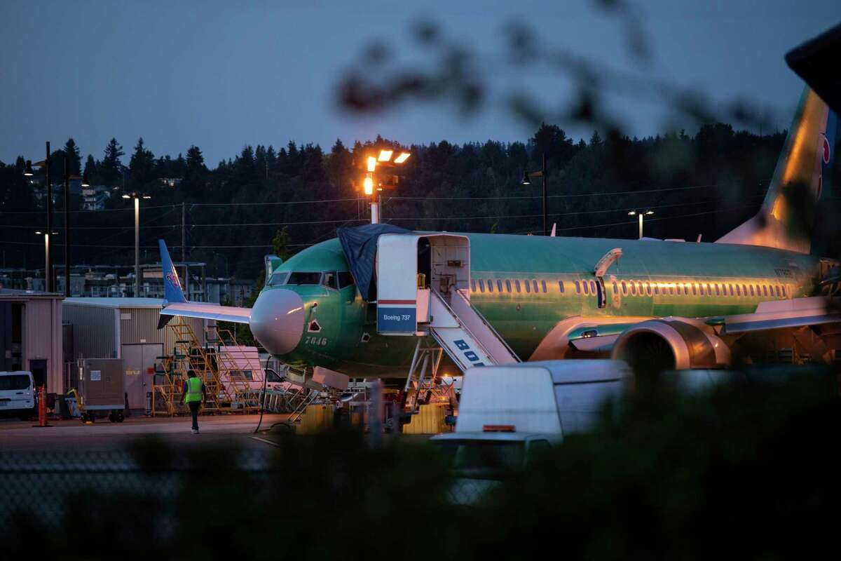 FILE -- A Boeing 737 Max plane at the Boeing plant in Renton, Washington, July 24, 2019. Boeing will report quarterly earnings on Oct. 23, and analysts expect the Max crisis to continue to batter the companyA?•s sales and profits. (Ruth Fremson/The New York Times)