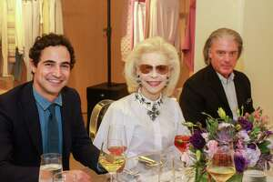 EMBARGOED FOR SOCIETY AND FASHION REPORTERS UNTIL 10.29  Zac Posen, from left, Lynn Wyatt and Stephen Brunelle at Neiman Marcus in Houston on October 23, 2019.