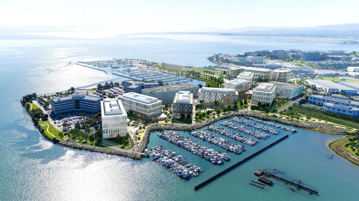 A rendering of the future Kilroy Oyster Point project in South San Francisco, where Stripe signed a new headquarters lease.