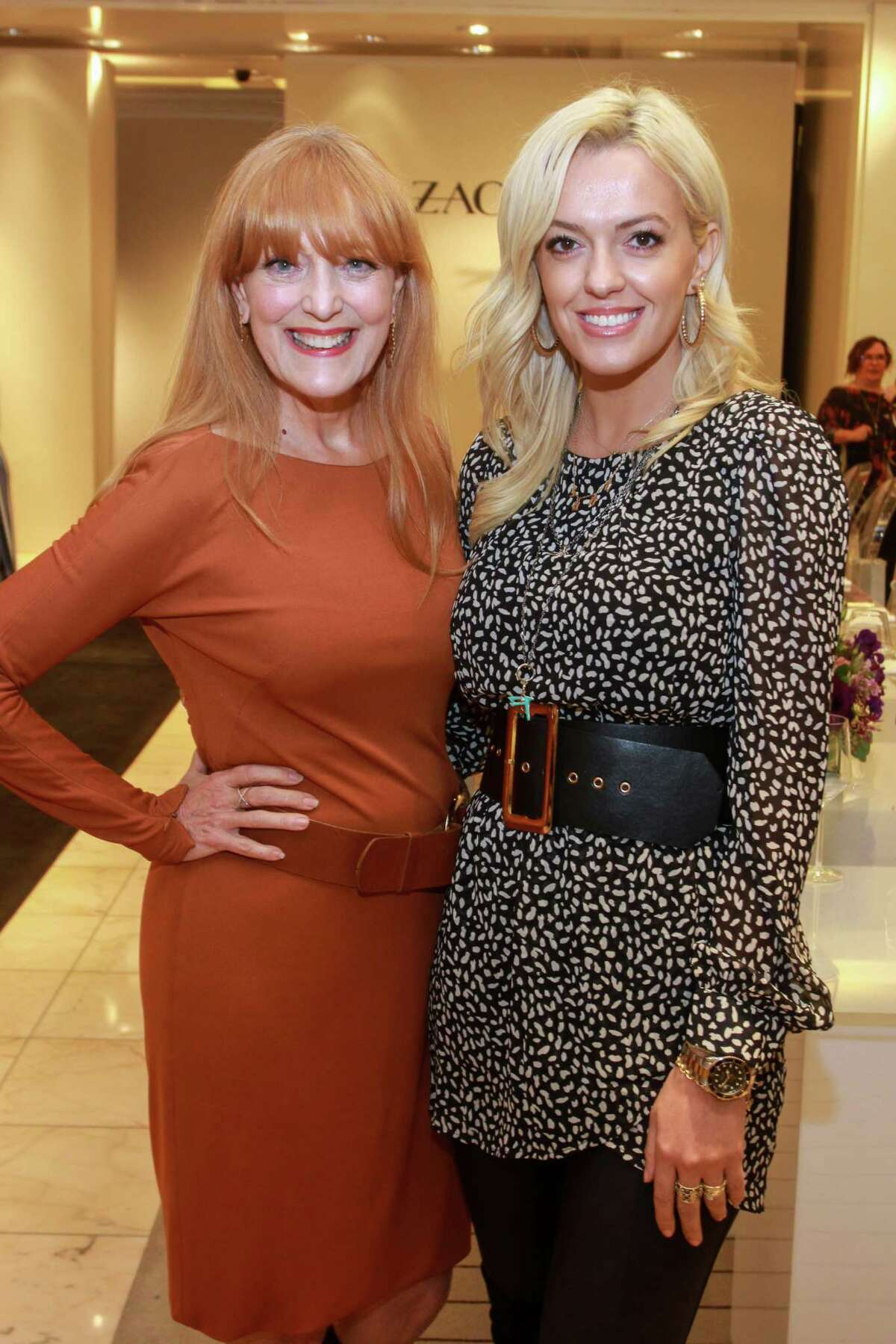 Gracie Cavnar, left, and Zana Ibishi at the Zac Posen event at Neiman Marcus in Houston on October 23, 2019.