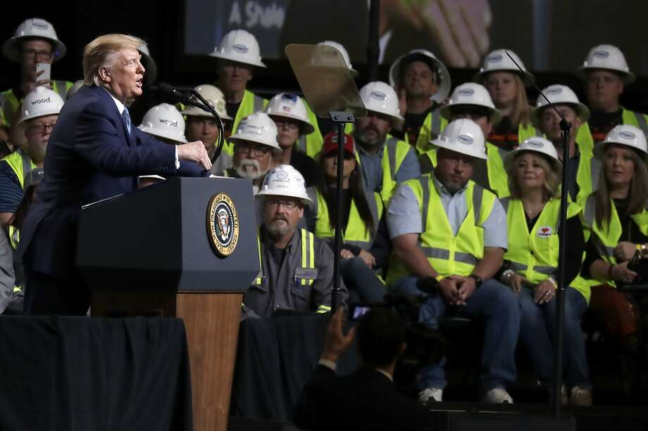 President Donald Trump speaks at the 9th annual Shale Insight Conference at the David L. Lawrence Convention Center, Wednesday, Oct. 23, 2019, in Pittsburgh. (AP Photo/Evan Vucci) Photo: Evan Vucci, Associated Press