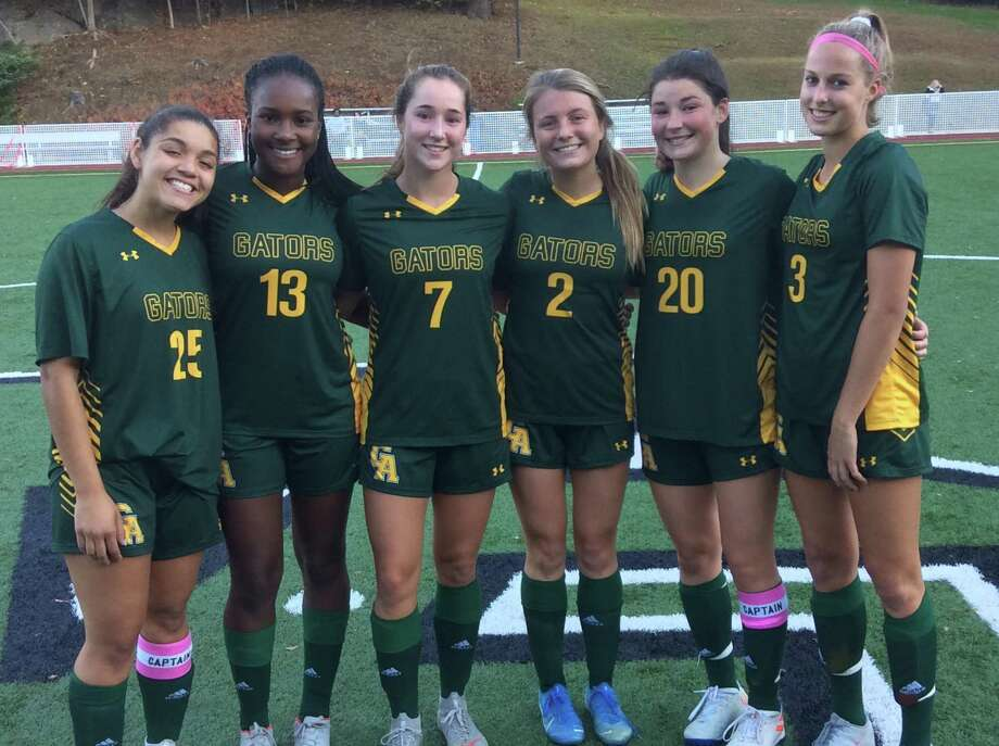 From left to right, Christina Maldonado, Kayla Tillman, Tessa Brooks, Chloe Burraway, Taylor Lane and Katie Goldsmith were the seniors honored on the Greenwich Academy soccer team's Senior Day on Wednesday, October 23, 2019, in Greenwich. Photo: David Fierro /Hearst Connecticut Media