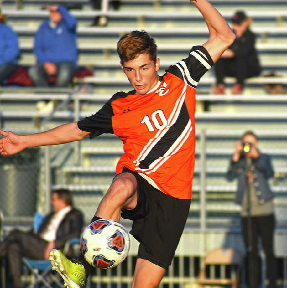 Edwardsville senior Jakob Doyle scores the second of his three goals Wednesday against Granite City in a Class 3A Edwardsville Regional semifinal.