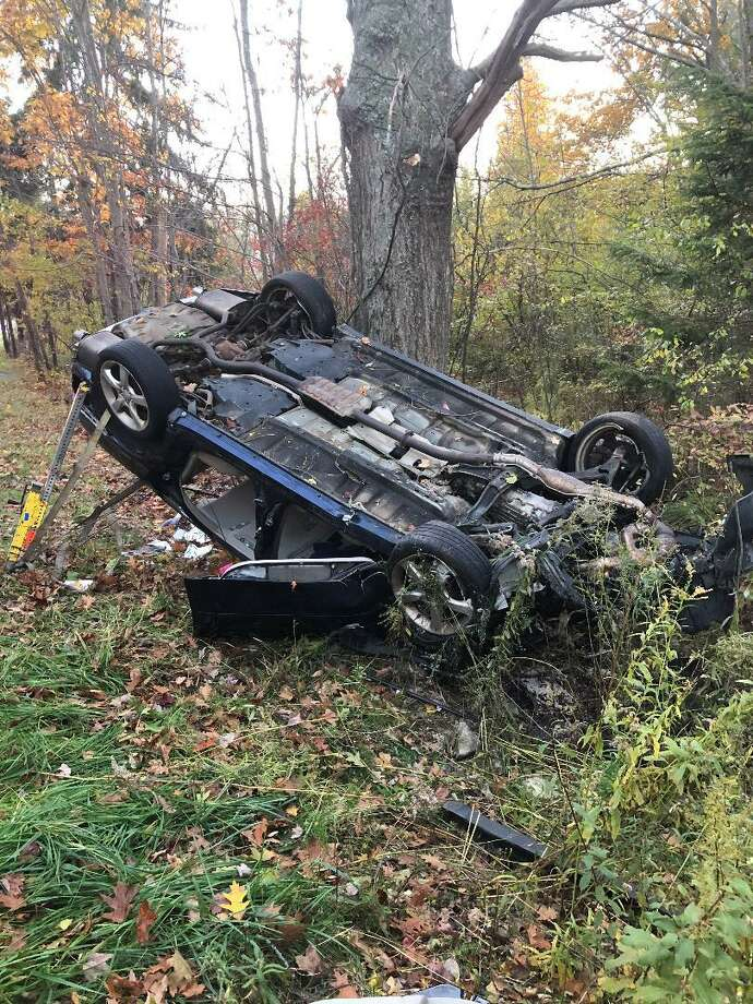 Torrington firefighters had to cut through this Subaru in order to reach the injured driver inside following an accident late Wednesday afternoon. Photo: / Torrington Fire Department
