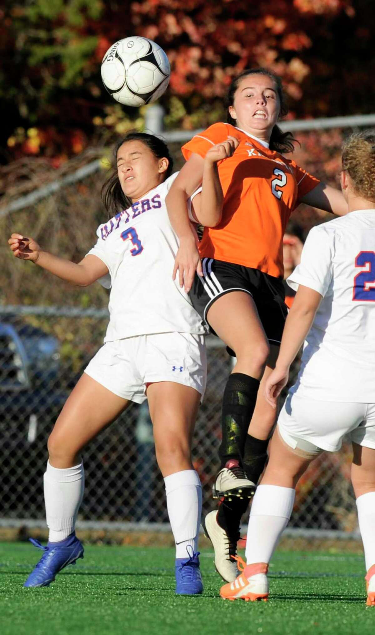 Danbury's Karrina Furtado (3) and Stamford's Claire Salerno (2) battle for the ball in the second half of a girls soccer match in Stamford on Oct. 23, 2019. Danbury won 6-2.