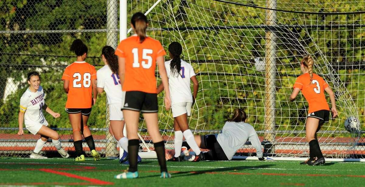 Danbury's Olivia DeMoura (10) scores against Stamford in a girls soccer match in Stamford on Oct. 23, 2019. Danbury won 6-2.