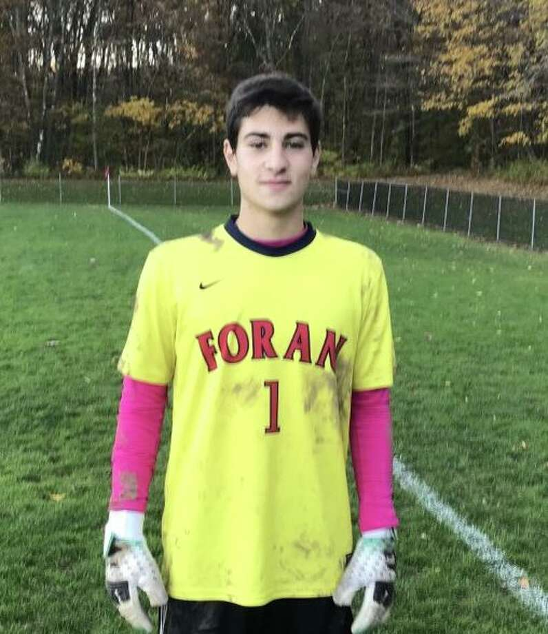 Luca Marinelli was Man of the Match during Foran's game at Guilford. Photo: Bill Bloxsom / Hearst Connecticut Media / Milford Mirror