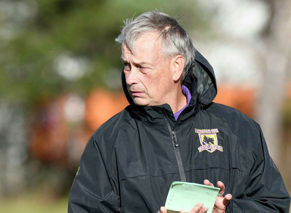 Ballston Spa head coach Garry Preece instructs his players against Guilderland during a Section II boys' soccer game Wednesday, Oct. 23, 2019, in Guilderland N.Y. (Hans Pennink / Special to the Times Union)