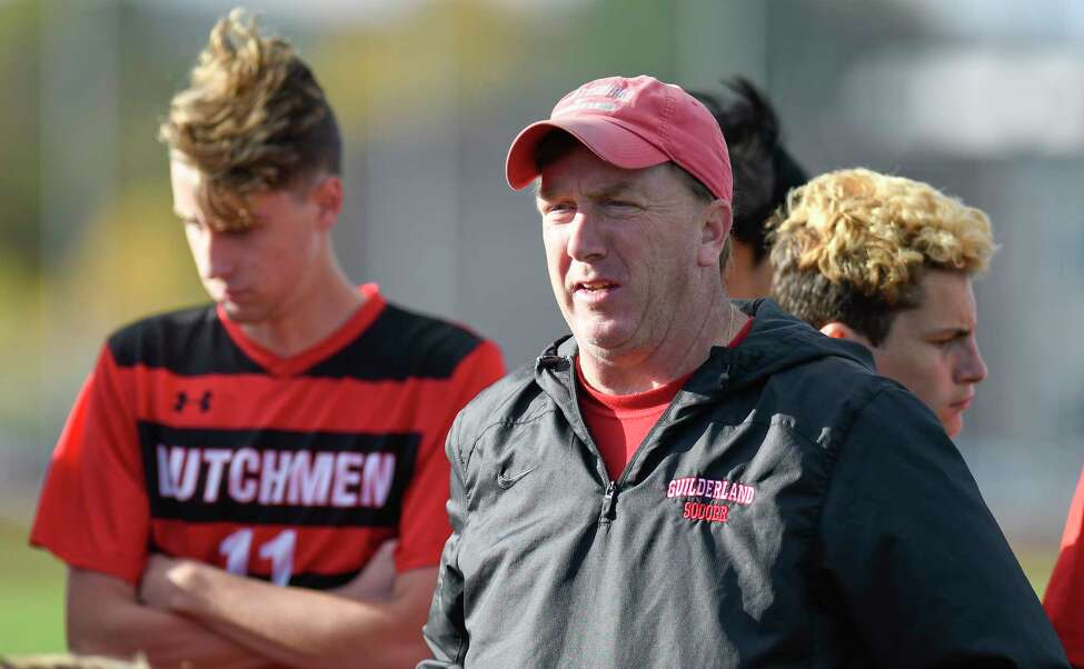 Guilderland head coach Mike Kinnally instructs his players against Ballston Spa during a Section II boys' soccer game Wednesday, Oct. 23, 2019, in Guilderland N.Y. (Hans Pennink / Special to the Times Union)