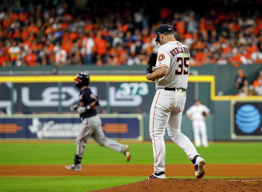 PHOTOS: More from the Astros' loss in Game 2 of the World Series Houston Astros starting pitcher Justin Verlander (35) reacts after giving up a home run to Washington Nationals catcher Kurt Suzuki (28) during the seventh inning of Game 2 of the World Series at Minute Maid Park in Houston on Wednesday, Oct. 23, 2019. Photo: Brett Coomer, Staff Photographer / © 2019 Houston Chronicle