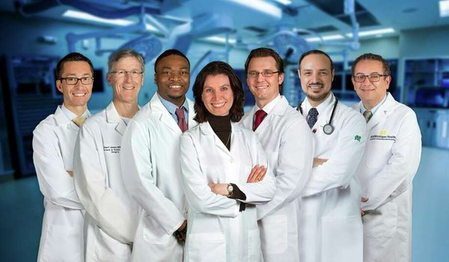 Clinic patients benefit from the expertise of a multidisciplinary team of experienced specialists. These include, from left, Cardiologist Jeffrey Martindale, D.O.; Cardiovascular Surgeon Robert Jones, M.D.; Cardiologist Femi Showole, D.O.; Cardiologist/Cardiac Imaging Specialist Susan Sallach, M.D.; Interventional Cardiologists Andrzej Boguszewski, M.D., and Maged Rizk, M.D., Ph.D.; and Cardiologist/Cardiac Imaging Specialist Waleed Doghmi, M.D. (Photo provided)