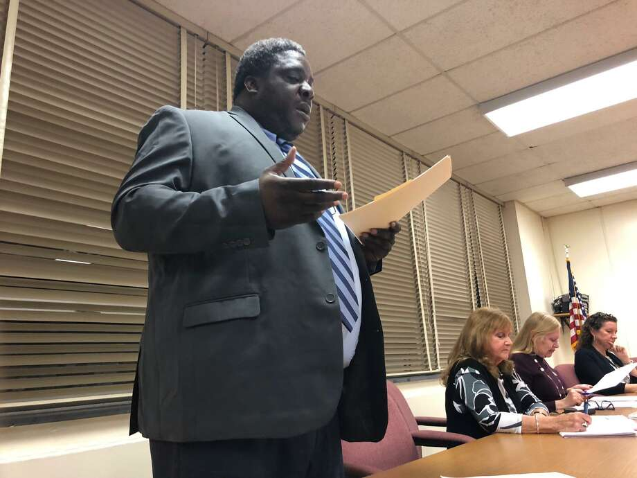 NAACP Valley branch President Greg Johnson speaks during the Board of Education meeting Wednesday, Oct. 23. Photo: Brian Gioiele / Hearst Connecticut Media / Connecticut Post