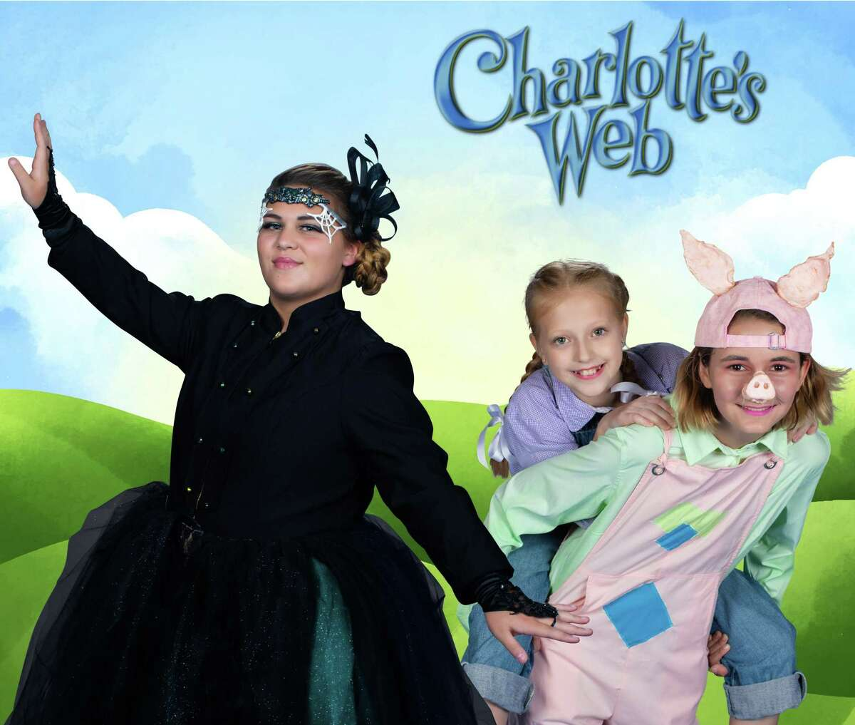 """From left, Rebekah Shirley plays Charlotte, Elise Driver plays Fern and Evann Sommers is Wilbur in Christian Youth Theatre's """"Charlotte's Web."""" The show is at the Crighton Theatre Nov. 8-10."""
