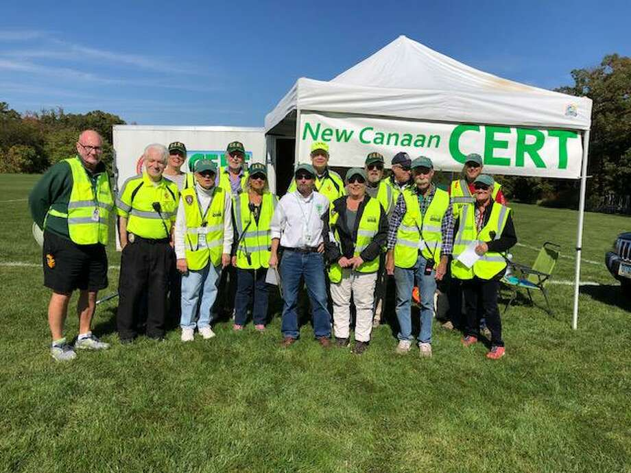 New Canaan CERT along with the Stamford and Wilton teams assisted with pedestrian and traffic control during the recent FCIAC races in Wavney Park, where more than 1,100 students participated in the annual event. Photo: Contributed Photo.
